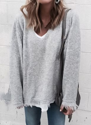 V-Neckline Solid Loose Regular Tassel Sweaters