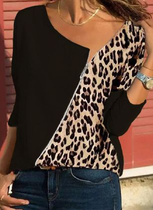 Leopard V-Neckline Long Sleeve Casual T-shirts (146964290)