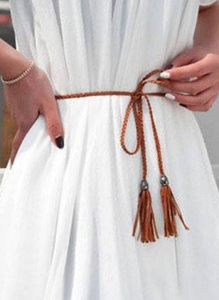Leatherette Tassel Solid Belts