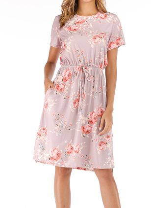 Casual Floral Round Neckline Knee-Length X-line Dress (1543928)