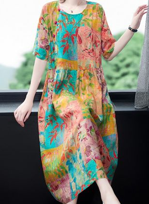 Casual Floral Tunic Round Neckline A-line Dress (101246537)