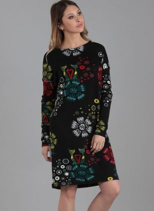 Floral Long Sleeve Above Knee Dress