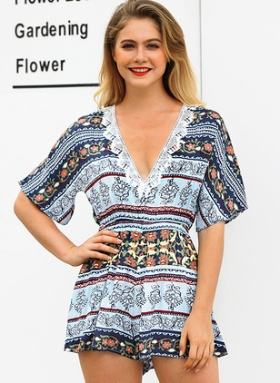 Polyester Floral Half Sleeve Backless Jumpsuits & Rompers