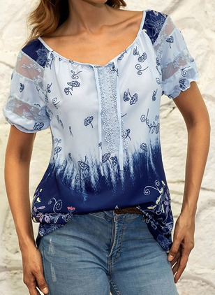 Floral Cotton V-Neckline Short Sleeve Blouses