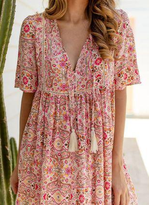 Casual Floral Tunic V-Neckline A-line Dress (100002140)