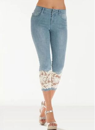 Elegant Skinny High Waist Lace Denim Jeans (147156947)