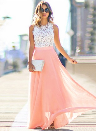 Solid Lace Tank Maxi A-line Dress