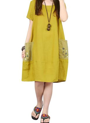 Casual Solid Tunic Round Neckline Shift Dress (4265502)