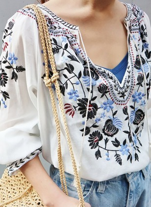 Floral Cotton V-Neckline 3/4 Sleeves Blouses