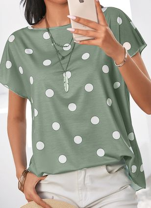 Polka Dot Casual Round Neckline Short Sleeve Blouses (1325513)