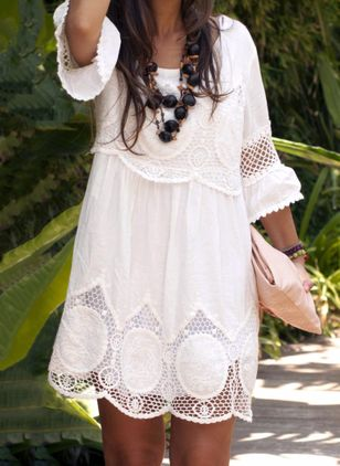 Boho Solid Embroidery Round Neckline Shift Dress (1039506)