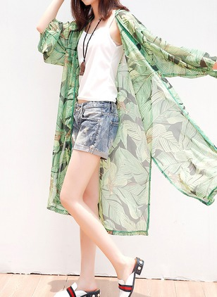 Chiffon Long Sleeve Collarless Coats