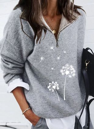 V-Neckline Floral Casual Regular Zipper Sweaters (127657350)