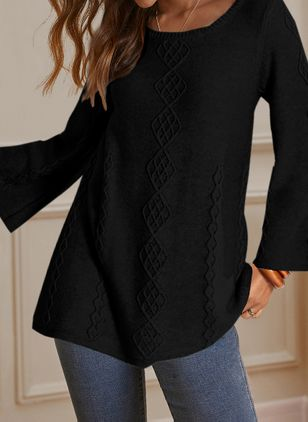 Solid Casual Round Neckline Long Sleeve Blouses (146741231)