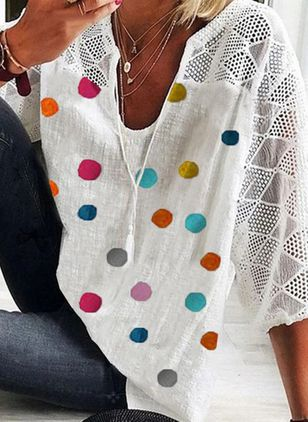 Polka Dot Casual V-Neckline 3/4 Sleeves Blouses (4209134)