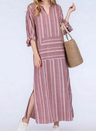 Casual Stripe Pockets Tunic Shift Dress (1439401)