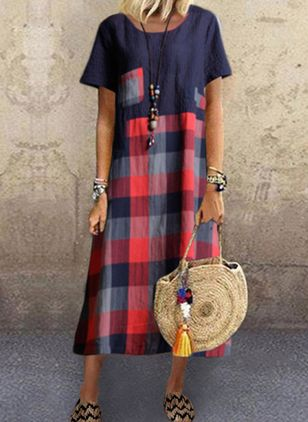 Casual Plaid Tunic Round Neckline Shift Dress (4355670)