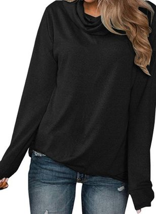 Solid Draped Neckline Long Sleeve Casual T-shirts (107561400)