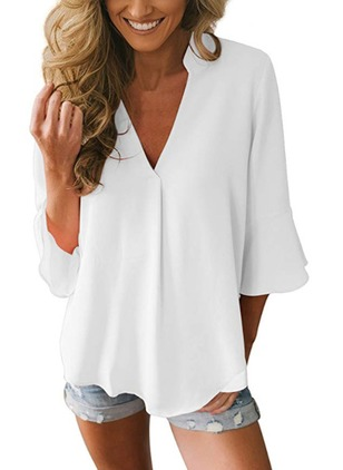 Solid Polyester V-Neckline 3/4 Sleeves Blouses