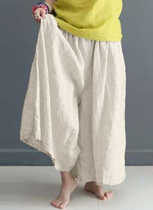Casual Loose High Waist Polyester Pants (146987596)