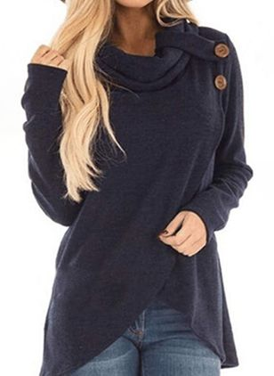 High Neckline Solid Casual Loose Regular Buttons Sweaters (106153768)