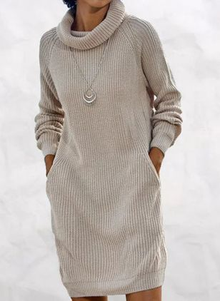 Casual Solid Sweater High Neckline Shift Dress (146823107)