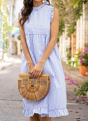 Casual Stripe Tunic Round Neckline A-line Dress (101326361)