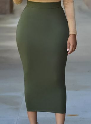 Solid Mid-Calf Sexy Skirts