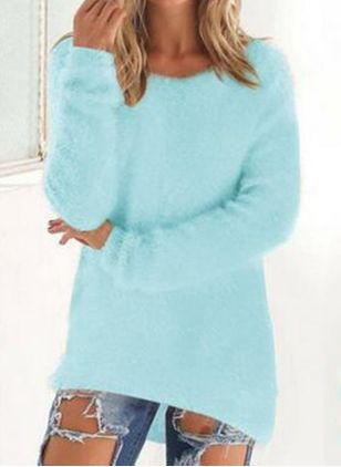 Round Neckline Solid Casual Loose Regular Shift Sweaters (6211244)