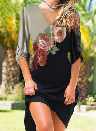 Casual Floral Tunic V-Neckline Shift Dress (146904922)