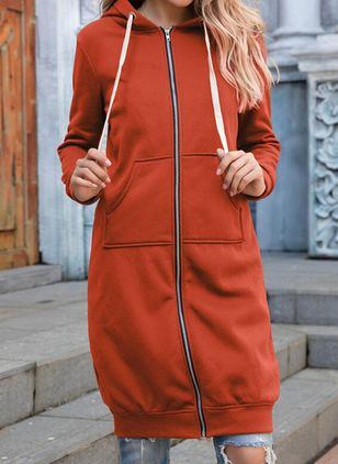 Long Sleeve Hooded Zipper Pockets Coats (127657113)
