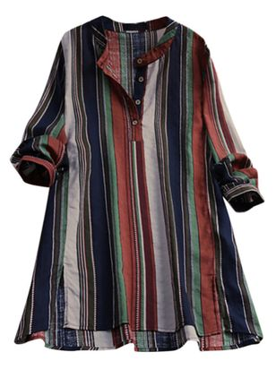 Plus Size Stripe Casual Round Neckline 3/4 Sleeves Blouses