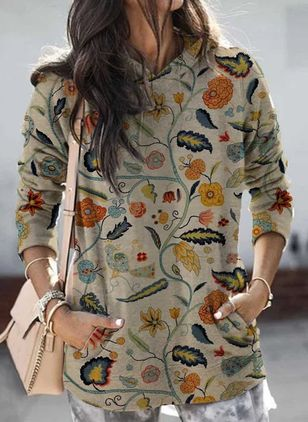 Hooded Floral Casual Loose Regular Pockets Sweaters (104534619)