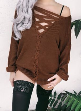 V-Neckline Solid Loose Long Shift Sweaters