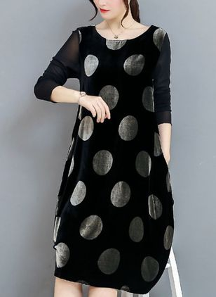 Polka Dot Long Sleeve Knee-Length A-line Dress (1270008)
