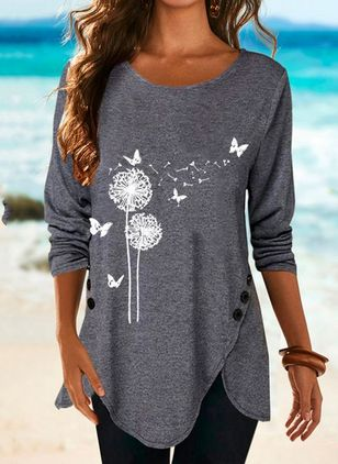 Floral Round Neck Long Sleeve Casual T-shirts (146662525)