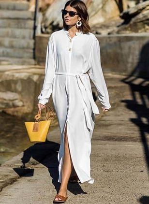 Solid Wrap Long Sleeve Maxi Shift Dress