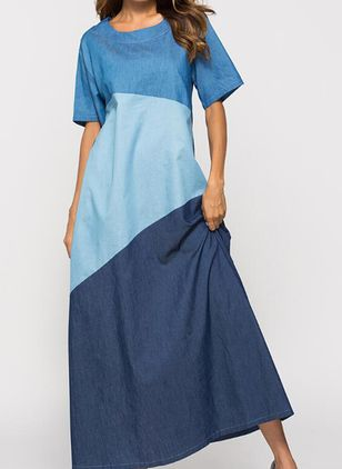 A-line Dress Round Neckline Denim Dress (4458132)