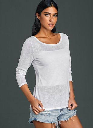 Round Neckline Solid Loose Regular Sweaters