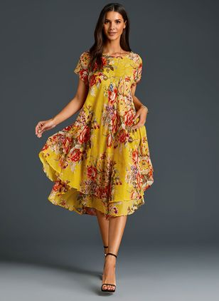 Chinese Casual Floral Ruffles Round Neckline A-line Dress (1296107)