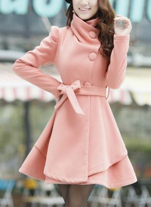 Long Sleeve High Neckline Sashes Wrap Coats