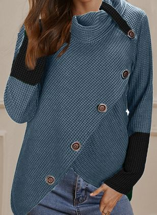 Draped Neckline Color Block Casual Loose Regular Buttons Sweaters (146650207)