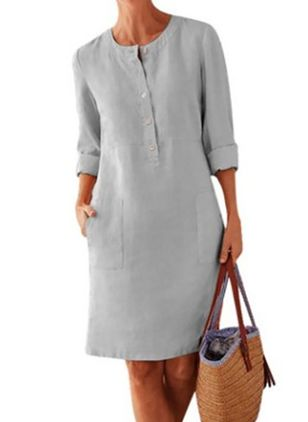 Plus Size Casual Solid Round Neckline Above Knee Shift Dress (1516384)