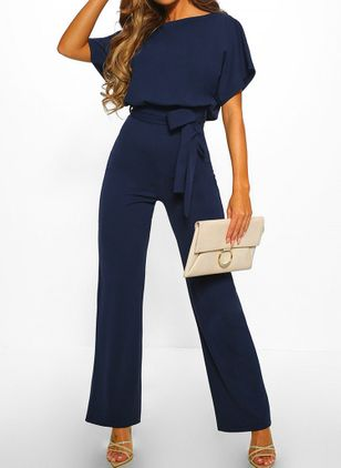 Casual Loose High Waist Cotton Jumpsuits (1482629)