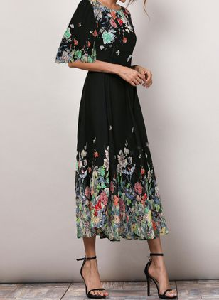 Floral Half Sleeve Midi X-line Dress