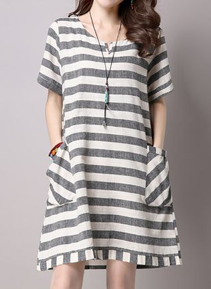 Casual Stripe None Round Neckline Shift Dress (1036681)