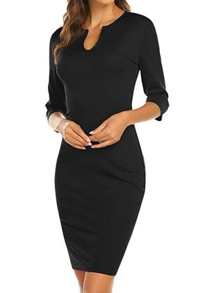 Casual Solid Pencil V-Neckline Bodycon Dress (109973205)