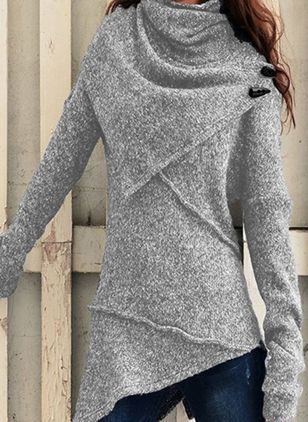 High Neckline Solid Casual Loose Regular A-line Sweaters (105810004)