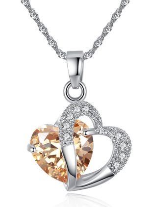 Elegant Heart Gemstone Pendant Necklaces (1438206)