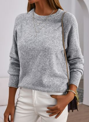Round Neckline Solid Casual Shift Sweaters (102930276)